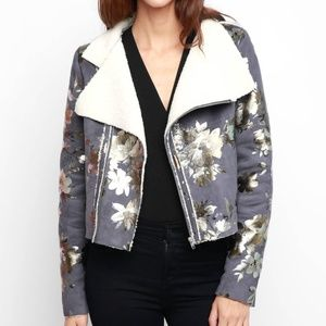 Goldie Metallic Painted Sherpa Drape Jacket